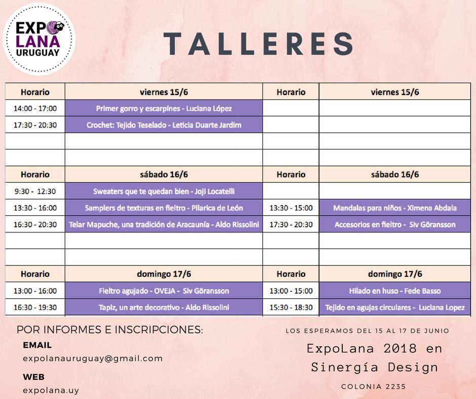 Cronograma de Talleres en ExpoLana 2018